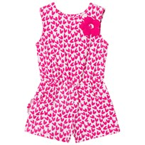 Agatha Ruiz de la Prada Pink and White Flower Detail Heart Print Romper P01