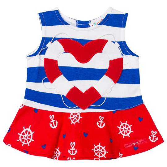 Agatha Ruiz de la Prada Blue Red And White Sailor Print Striped Dress B00