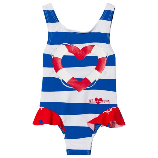 Agatha Ruiz de la Prada Blue And Red Sailor Print Striped Swimsuit B00