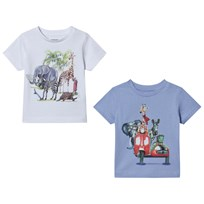 Mayoral Pack of 2 White and Blue Animal Road Trip Tee 45