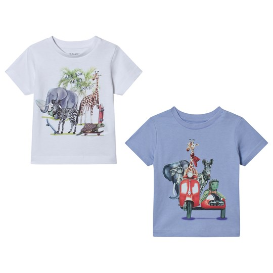 Mayoral Pack of 2 White and Blue Animal Road Trip T-Shirts 45