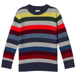 GAP Gray And Rainbow Stripe Crazy Sweater