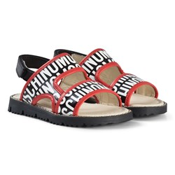 Moschino Kid-Teen Red and Black Logo Sandals