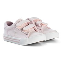 Ralph Lauren Pale Pink Canvas with Red Pony Velcro Trainers Pink