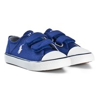 Ralph Lauren Royal Blue Canvas Velcro Trainers with Navy Pony Blue