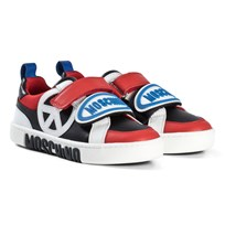 Moschino Kid-Teen Red and Black Peace Sign and Logo Skor 9101