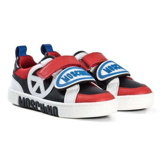 Moschino Kid-Teen Red and Black Peace Sign and Logo Velcro Trainers 9101