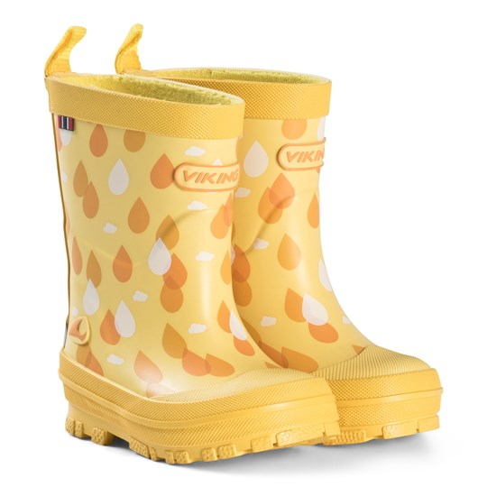 Viking Yellow Raindrop Wellies Yellow