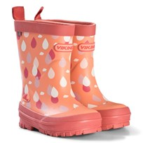 Viking Coral Raindrop Wellies Coral