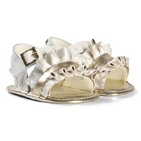 Michael Kors White and Gold Logo Zia Baby Free Sandals White and Gold