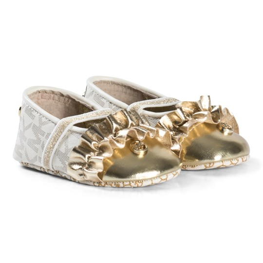 Michael Kors White and Gold Zia Baby Ballet Shoes White and Gold