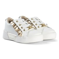 Michael Kors Whtie and Gold Frill Zia Guard Rail-T Elastic Lace Trainers White and Gold