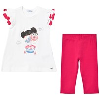 Mayoral Pink Sweet Girl Sparkle Tee and Leggings Set 82