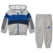 adidas Performance Grey and Blue Boys Kids Tracksuit Top:MEDIUM GREY HEATHER/COLLEGIATE ROYAL/COLLEGIAT