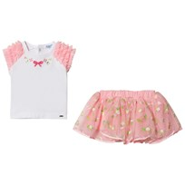 Mayoral Pink Embroidered Tulle Skirt and White Ruffle Tee Set 82
