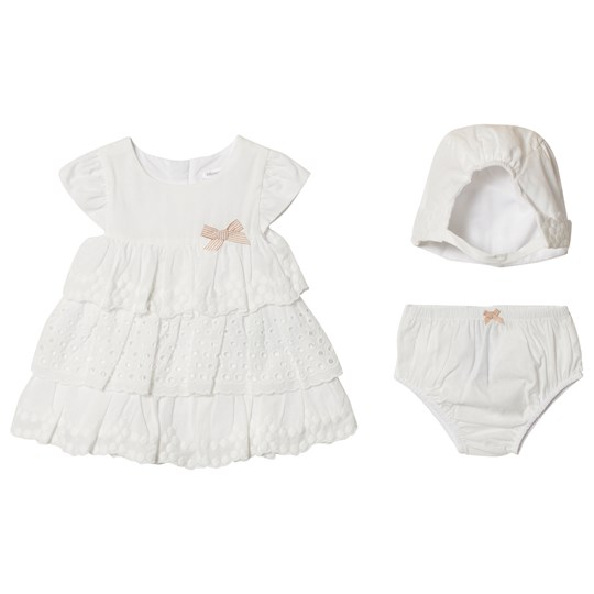 Mayoral Off White Broiderie Anglais Dress with Knickers and Bonnet 91