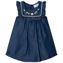 Mayoral Soft Denim Frill Front Dress with Embroidered Flowers 4