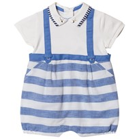 Mayoral Blue Stripe Dungaree Effect Collared Romper 24