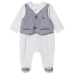 Image of Mayoral White and Navy Stripe Waistcoat Effect Baby Body 6-9 months (2989461321)