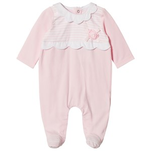 Image of Mayoral Pink Stripe and Flower Applique Baby Body 6-9 months (2988277121)