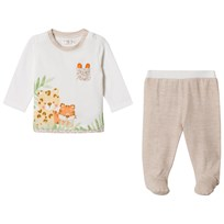 Mayoral White Jungle Animal Top and Footed Leggings Set 68