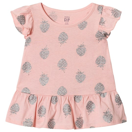 GAP Strawberry Top Pink and Gray Strawberry
