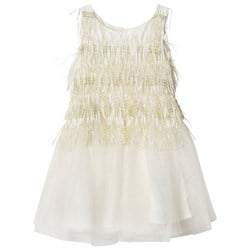 Billieblush Gold and Ivory Tulle Feather Effect Party Dress