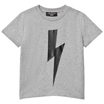 Neil Barrett Grey with Black Lightning Bolt Print Tee 101