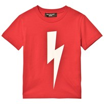 Neil Barrett Red with Black Lightning Bolt Print Tee 40