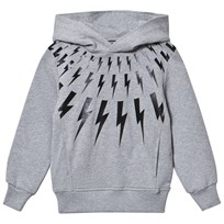 Neil Barrett Grey Lightning Bolts Print Pull Over Hoodie 101