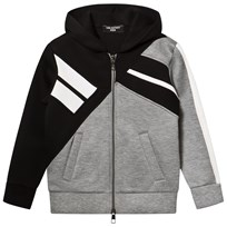 Neil Barrett Grey Colourblock Neoprene Zip Through Hoodie 110/04