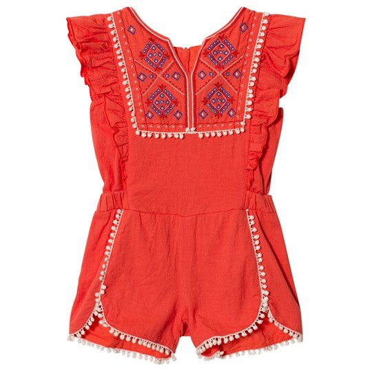 Carrément Beau Coral Embroidered Frill Sleeve Playsuit with Pom Pom Detail 444