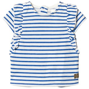 Image of Carrément Beau Blue and White Stripe Frill Top 6 months (2989457339)