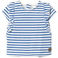 Carrément Beau Blue and White Stripe Frill Top N58