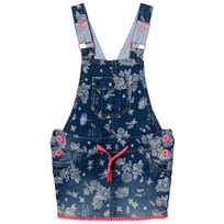 Billieblush Floral Denim Dungaree Dress with Pom Pom Hem Z13