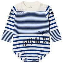 Burberry Blue and White Branded Stripe SW1 Long Sleeve Body BRIGHT LAPIS/N WHITE