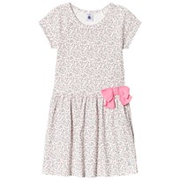 Petit Bateau White Floral Print Bow Waist Dress