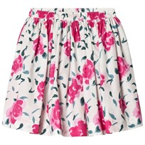 Petit Bateau White and Pink Floral Print Skirt