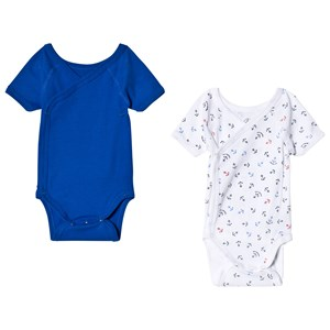 Image of Petit Bateau Pack of 2 Blue and White Anchor Print Baby Bodies 3 Months (2990302701)