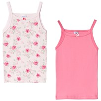 Petit Bateau Pack of 2 Floral Print and Plain Pink Tank Tops