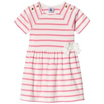 Petit Bateau Pink Striped Bow Waist Dress