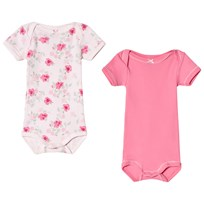 Petit Bateau Pack of 2 Pink and White Floral Print Baby Bodies