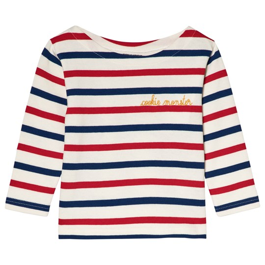 "Maison Labiche ""Cookie Monster"" Striped Tee White/Blue/Red Tricolor Flag"