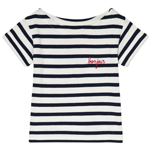 Image of Maison Labiche ''Bonjour'' Striped Tee White/Navy 10 years (2990303747)