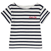 Maison Labiche EXCLUSIVE White and Navy Striped Polar Bear and World Embroidered Short Sleeve Tee OFF WHITE DARK BLUE