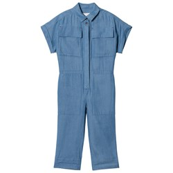 Burberry Steel Blue Chambray Jumpsuit