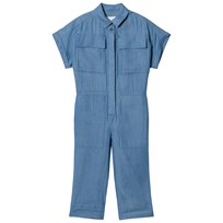 Burberry Steel Blue Chambray Jumpsuit Steel Blue