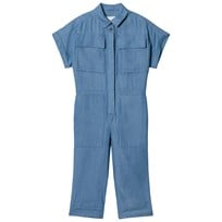 Burberry Blue Chambray Flissa Jumpsuit Steel Blue
