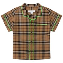 Burberry Beige Classic Check Shirt with Neon Trims Camel