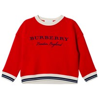 Burberry Striped Hem Embroidered Sweatshirt Red BRIGHT ORANGE RED
